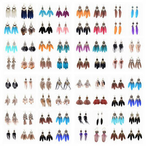 Wholesale-Fashion-Bohemian-Boho-Feather-Alloy-Hook-Dangle-Women-Vintage-Earrings