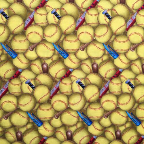 Fat Quarter Sports Baseball and Bat Print 100/% Craft Cotton Quilting Fabric UK