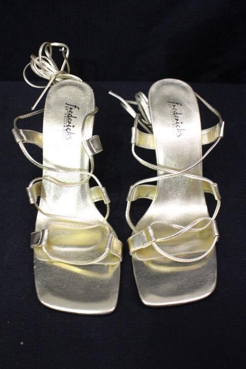 NWOT FREDERICKS OF HOLLYWOOD Gold Lace Up Gladiator Stiletto Heels - 8.5-B128