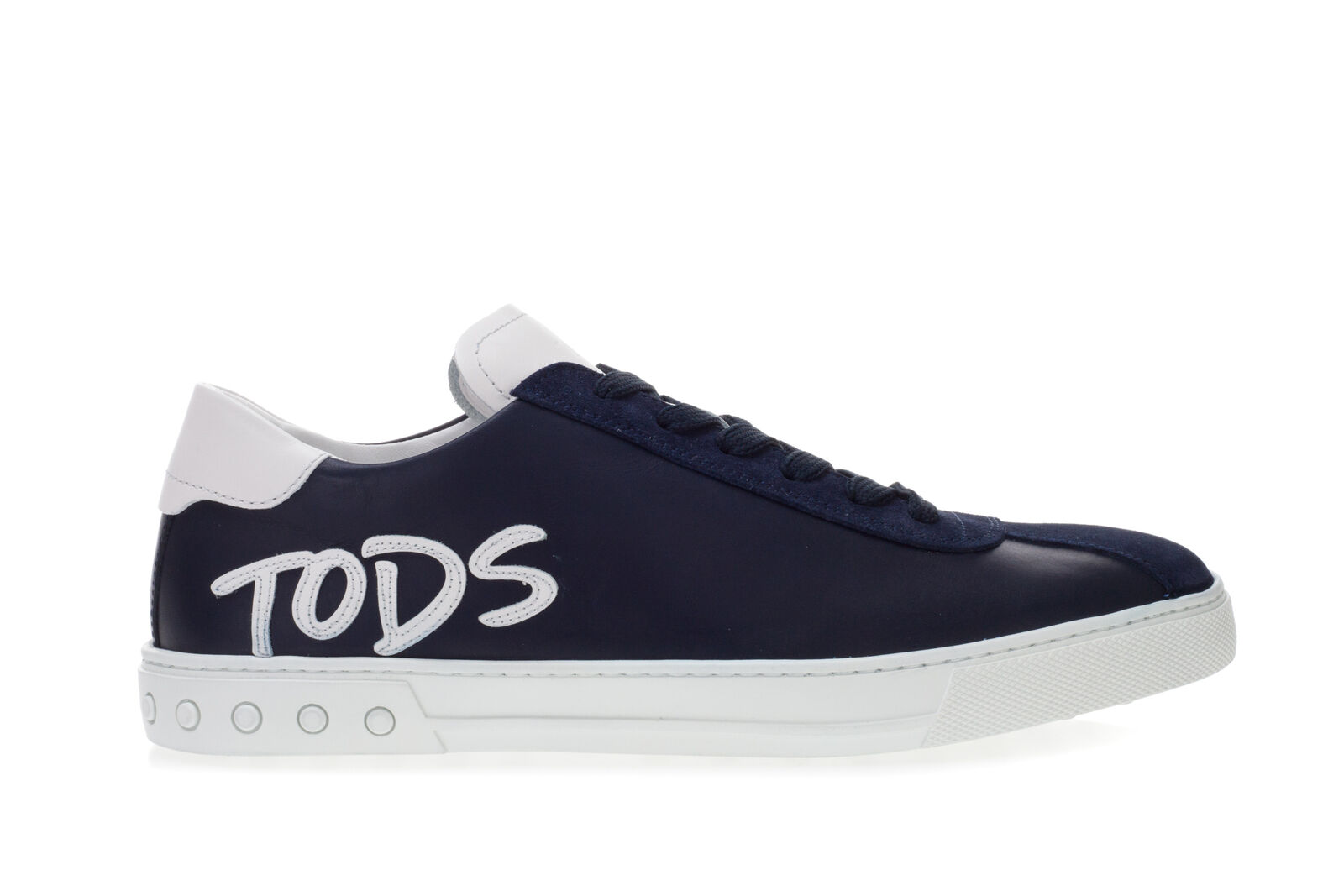 TOD'S Scarpe scarpe da ginnastica Uomo In Pelle E Camoscio Blu Con Logo Laterale Bianco