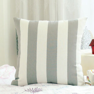 7121737dc83 Image is loading Grey-White-Stripe-Pattern-Cotton-Throw-PillowCase-Decor-