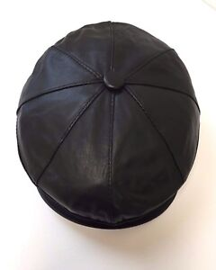 NEW-100-Real-Leather-Buttoned-8-Panel-Flat-Cap-Soft-Comfortable-Black-2-Sizes