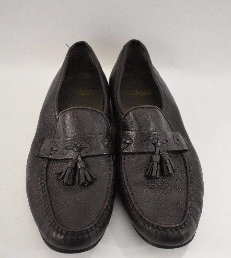 Men's E T Wright Dark Brown Slip Tassel Loafer shoes Size 13 D Made In