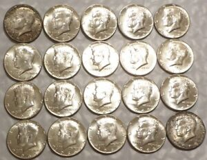 BU-Roll-1966-Opened-OBW-Uncirculated-with-toned-end-coins-20-40-Silver-Halves