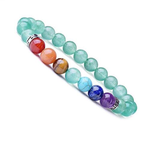 8 mm 7 Chakra Diffuseur bracelet élastique pierres naturelles Yoga Beads Bracelet N77