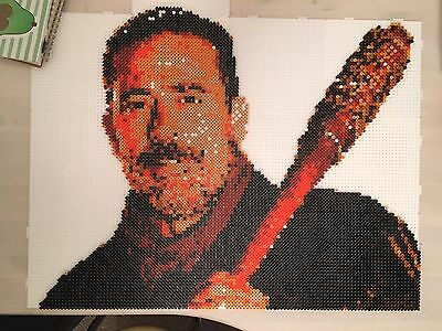 The Walking Dead Negan and Lucille Hama Perler Pixel Bead A1 Portrait with  Frame | eBay