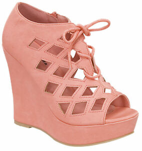 72f6ee0c42af SIZE 6 CORAL HIGH HEEL WEDGE CUTUOUT SEXY SANDAL LACE UP PLATFORM ...