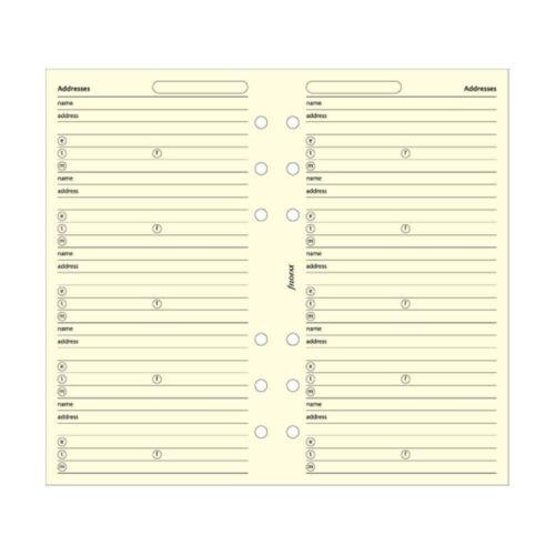 Cotton Cream Filofax Papers Name//Addr//E-mail//Tel//Fax//Mobile Personal Size