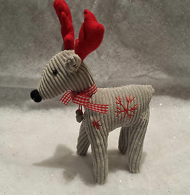 20cm Soft Corduroy Christmas Standing Reindeer Ornament Retro Heaven Sends