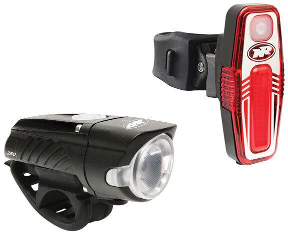 NiteRider Swift 350 Bike Bicycle Headlight + Sabre 50 Taillight USB Combo
