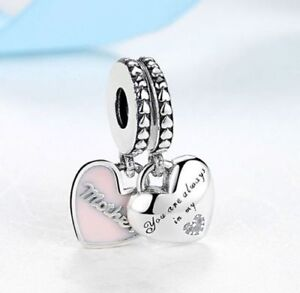 Genuine-925-Silver-Mother-amp-Daughter-Hearts-Pendant-Charm-set-of-2-gift-box
