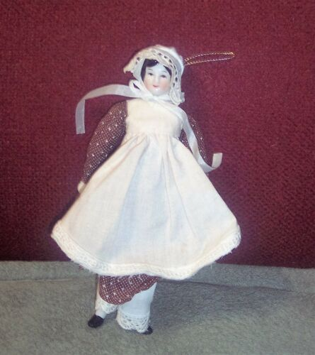 "Vintage ANTIQUE 8"" CHINA SHOULDER HEAD DOLL WBODY & CLOTHES OLD"