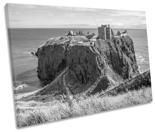 Dunnottar ruines du château b/&w photo unique Toile Wall Art Print Gris