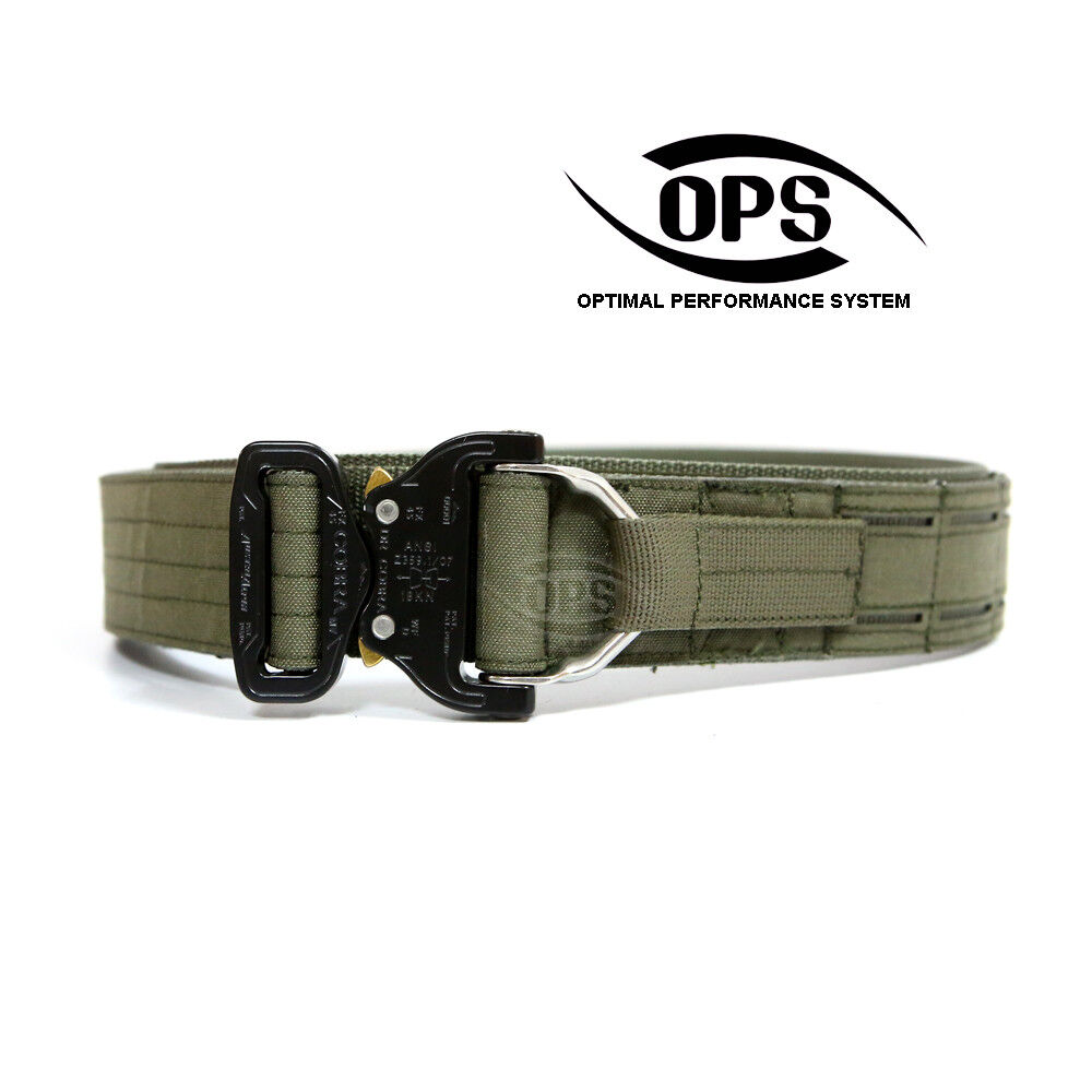 O.P.S D-RING COBRA WARRIOR BELT IN RANGER  GREEN, CHOOSE YOUR SIZE  100% free shipping
