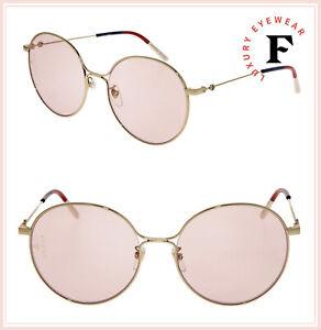 601a30f40 GUCCI 0395 Gold Pink Sylvie Round Metal Retro Sunglasses GG0395SK ...