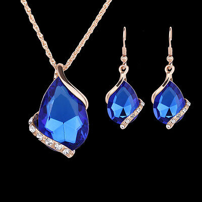 Women Fashion Gold Silver Crystal Waterdrop Earrings Necklace Jewelry Gift Set