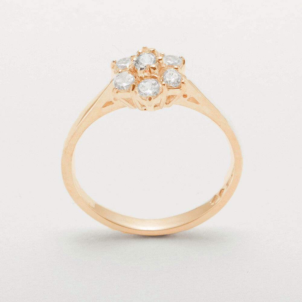 18ct 750 pink gold Cubic Zirconia Womens Cluster Ring - Sizes J to Z
