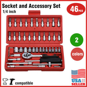 46 pcs 1//4 inch Drive Impact Socket wrench tool Set with drill adapter w//Case