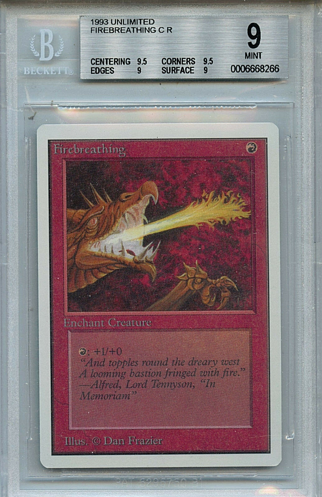 MTG Unlimited Firebreathing BGS 9.0 (9) Mint Card Magic Gathering 8266