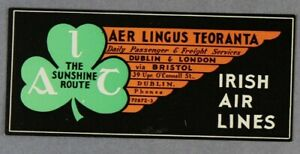 AER-LINGUS-TEORANTA-VINTAGE-ORIGINAL-AIRLINE-LUGGAGE-LABEL-BAGGAGE-BAG-IRISH-AIR