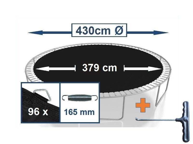 Trampolin Sprungtuch Sprungmatte Zubehör  (430 cm Ø,96 Ösen,Federn 16,5 cm)