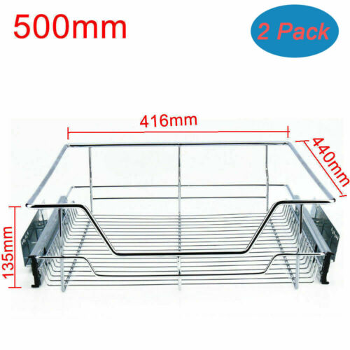 500mm Pull Out Kitchen Storage Wire Baskets Drawer Slide Out Larder Cupboard New