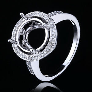 Natural-SI-Diamonds-Engagement-Semi-Mount-Round-9mm-to-11mm-Solid-14K-White-Gold
