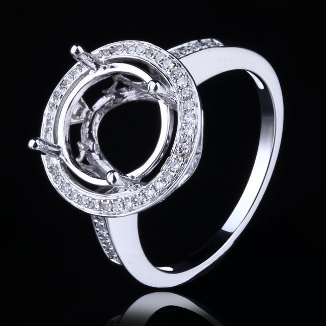 Natural SI Diamonds Engagement Semi Mount Round 9mm to 11mm Solid 14K White Gold