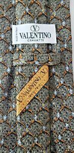 Valentino-Cravatte-100-Silk-Luxury-Mens-Neck-Tie-Chain-Link-Textured-4-034-x-57-034