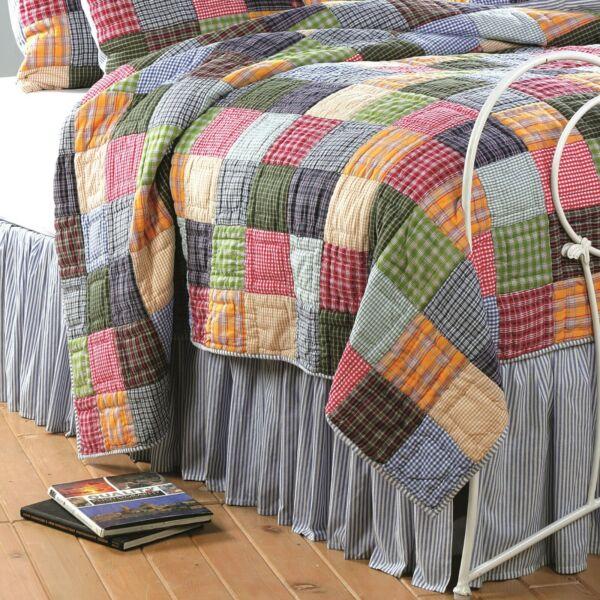 100% Cotton Blue And White Bell Stripe Bedskirt Bed Skirt 18 In Split Corners Snelle Kleur