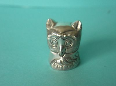"""Handcrafted Sterling Silver Owl Thimble, Acid tested, Unmarked, 6.9g, 1 1/8""""H"""