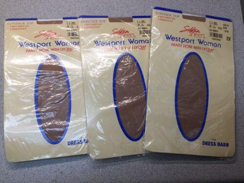 Dress Barn Panty Hose Silken Control Top Size 2X Nude Stocking Nylon Lot of 3