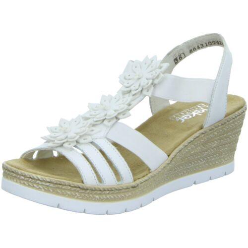 Rieker Damen Sandaletten Sandalette eleganter Boden 61949-80 weiß 244403