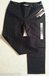 2fce8eee2c945 NWT DANA BUCHMAN PANTS 6 BLACK CROP CONTROL STRETCH Classic Belted ...