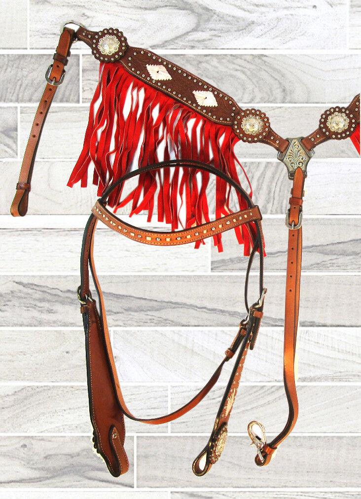 Mostrar flecos Flecos de Gamuza Cuero Marrón Tachuela Western Cabezada pecho collar conjunto
