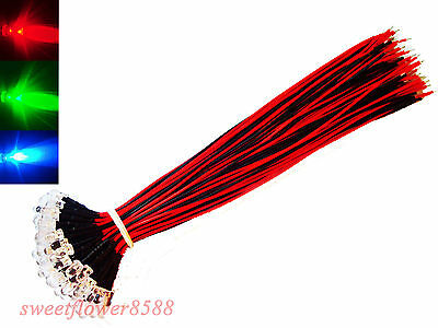100 pcs  5mm RGB slow Flash LED Rainbow Red Green Blue Pre Wired Light 12V 20cm