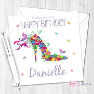 Image Is Loading Floral Butterfly Shoe Personalised Birthday Card For Her