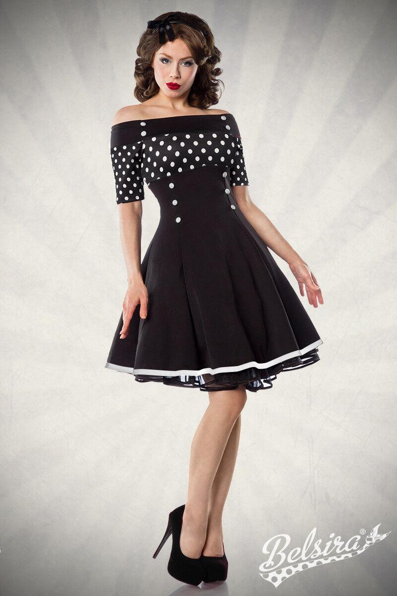 Vintage-Kleid Punkte mit Carmen- Ausschnitt