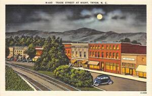 TRYON-NC-Trade-Street-Scene-Night-View-North-Carolina-ca-1940s-Linen-Postcard