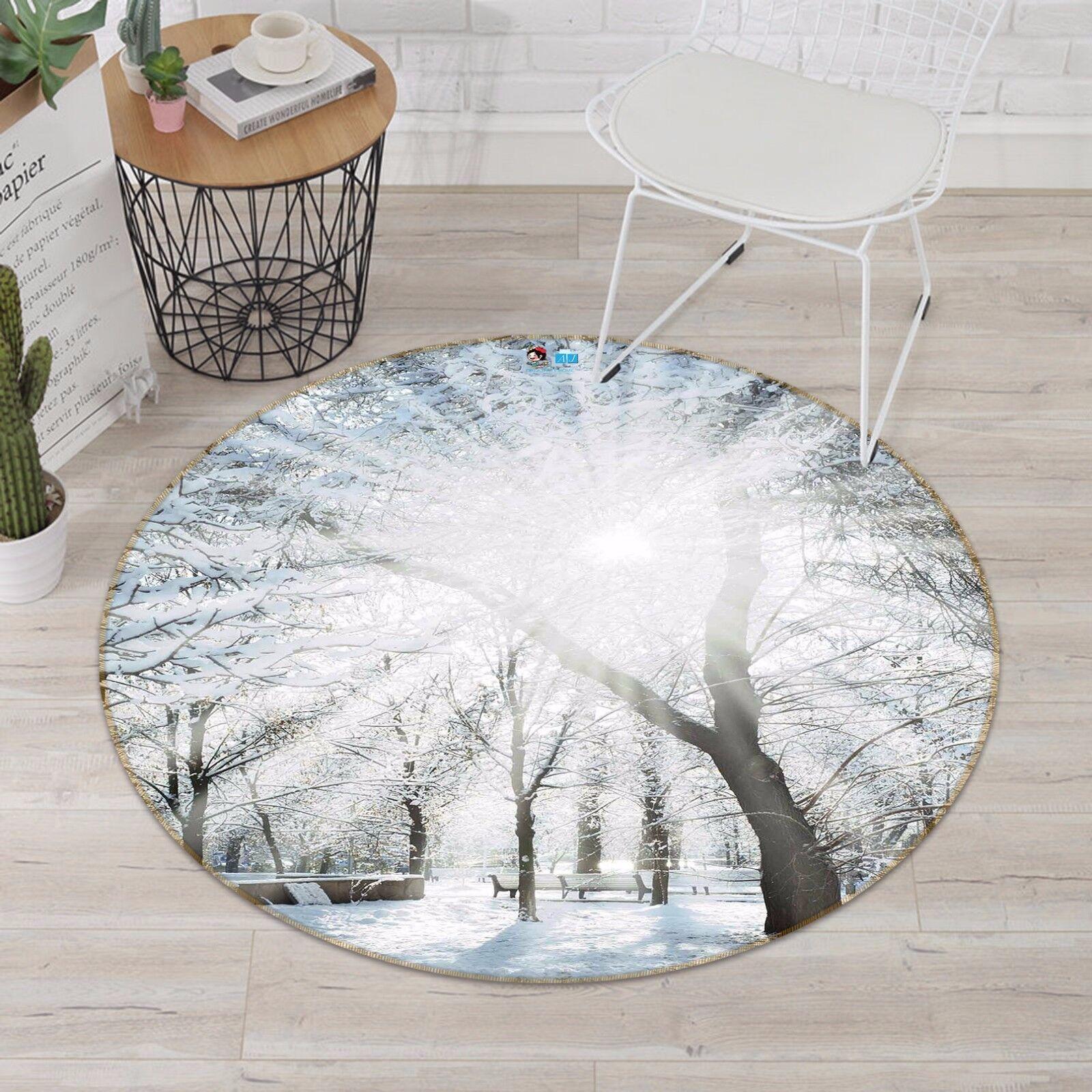 3D Park Snow Trees 83  Non Slip Rug Mat Room Mat Round Elegant Photo Carpet CA