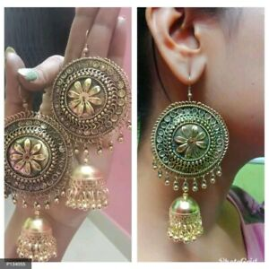 India Traditional Golden Oxidized Fashion Jewelry Drop Earrings jhumka