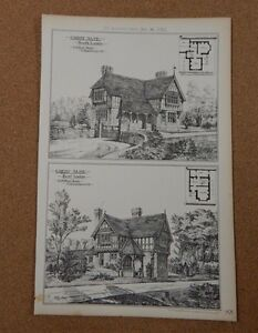 Antique-Architects-print-great-Alne-East-Lodge-amp-South-lodge-Building-News-1883