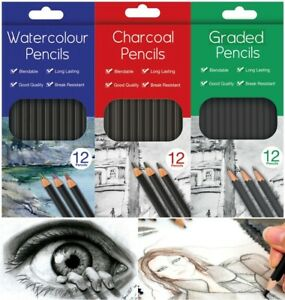 Water Colour Charcoal Sketching Pencils Drawing Set of School HB Artist Colour