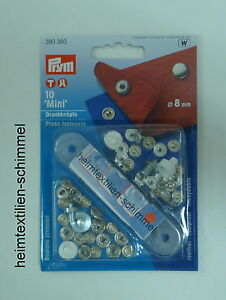 10 Set Silber 7,5mm mini Druckknöpfe