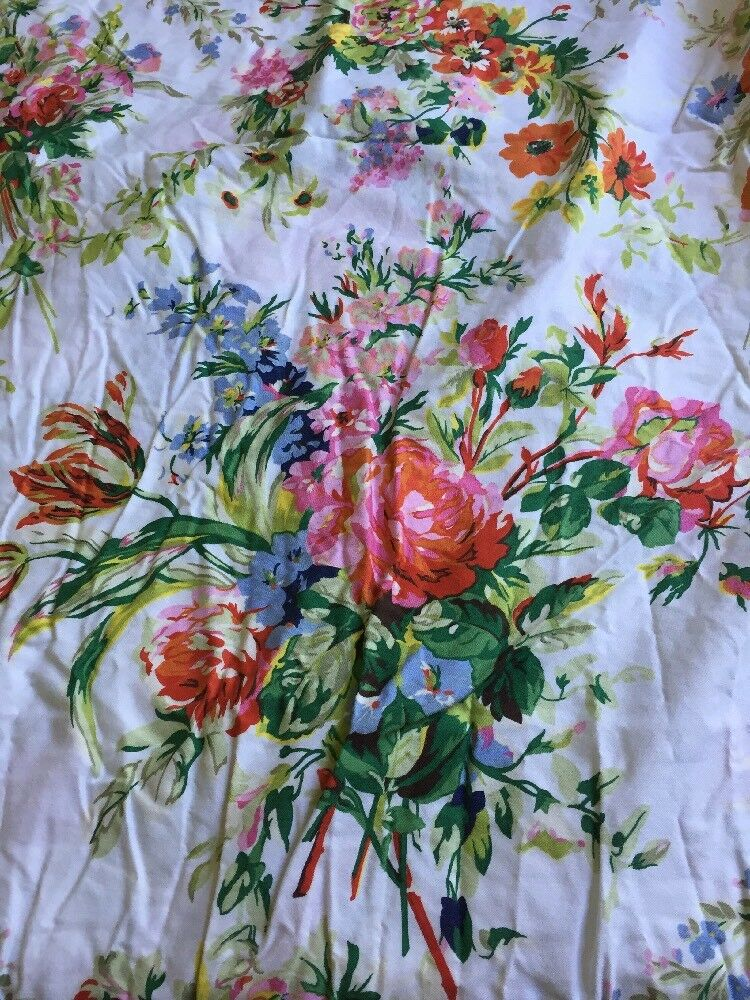 Ralph Lauren one Full Flat Sheet Bell Harbor Floral White