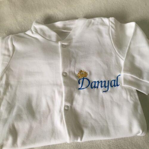 Personalised Embroidered BabyGrow Boys Prince Sleepsuit christmas shower Gift