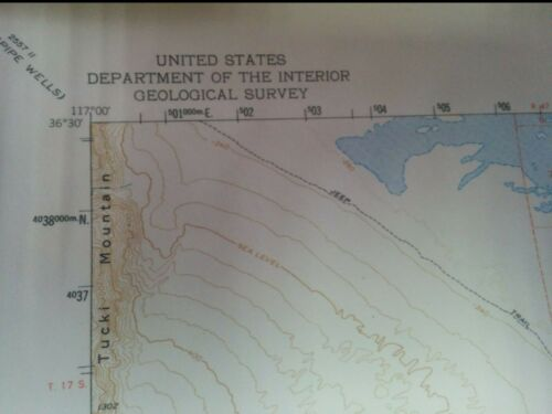 "21 x 17 LAMINATED U.S DEPT OF THE INTERIOR GEOLOGICAL SURVEY /""DEATH VALLEY/"""