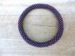 Metallic-Peacock-Purple-Beaded-Bracelet-Seed-Beads-Nepal-MB1-Seed-bead