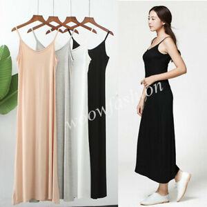 Women-Cami-Full-Slip-Plain-Long-Loose-Dresses-Camisole-Liner-Under-dress