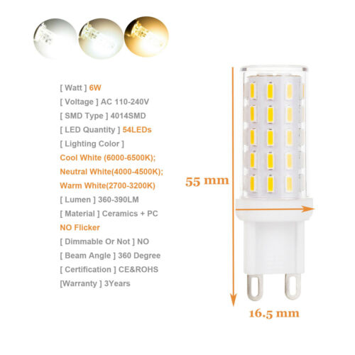 Dimmable G9 LED Corn Bulb COB SMD Ceramic Light 4W 6W 8W 9W Replace Halogen Lamp